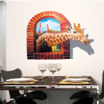 Art of zoo giraffe sticker 3D กว้าง 115 cm. x สูง 90 cm