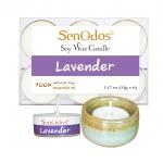 SenOdos เทียนหอม อโรม่า เทียนทีไลท์ Tealight Set Lavender Soy Candles - กลิ่นลาเวนเดอร์แท้ 15 g. (6 ชิ้น) + เชิงเทียน ที่วางเทียนทีไลท์ ศิลาดล (เซลาดล) สีเขียวหยกขอบทอง