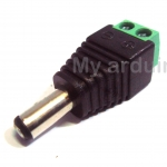 DC male Adapter Jack plug สำหรับ Arduino 2.1 x 5.5 mm