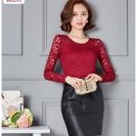 !!New**พร้อมส่ง** New !!ต้อนรับตรุษจีนเดือนหน้านี้ เสื้อลูกไม้สีแดงทั้งตัว ผ้าลูกไม้และซับในเนื้อดี สวมใส่สบายไม่คันผิว รหัส A9