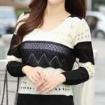 เสื้อแขนยาว ลายขวาง แถบใหญ่ สีดำสลับขาวครีม แต่งฉลุ น่ารัก