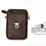NS-06 กระเป๋าหนังนูบัค สีน้ำตาลเข้ม สะพายข้าง คาดเข็มขัด สภาพดี