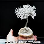 ต้นไม้มงคล หินควอตซ์ใส (Clear Quartz) -ฐานควอตซ์ ใช้เสริมฮวงจุ้ย โต๊ะทำงาน (330g)