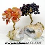 ต้นไม้คู่มงคล หินคาร์เนเลี่ยน-โกเมน-ฐานควอตซ์ ใช้เสริมฮวงจุ้ย โต๊ะทำงาน (214g)