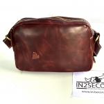 NS-01 กระเป๋าหนังแท้ สะพายข้าง สีไวน์แดง สภาพดี มีตำหนิตามรูป