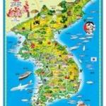 โปสเตอร์พลาสติกสี่สีแผนที่ประเทศเกาหลีและแผนที่โลก(2 หน้า/หน้า-หลัง)ออกเสียงโดยการ Scan QR Code