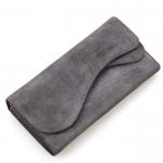 HM-8214 S กระเป๋าสตางค์ หนังชามัวร์ ใบยาว สีเทา