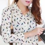 เสื้อเชิ๊ตสตรีทำงาน คอปก แขนยาว สีขาว ลายนก ผูกด้านหน้า Size L