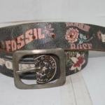 เข็มขัดหนังแท้ FOSSIL สกรีนลาย สภาพดี