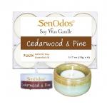 เทียนหอม เทียนทีไลท์ อโรม่า Cedarwood + Pine Tealight Soy Candle Aroma 15g x6 PCS กลิ่นซีดาร์วูด & ไพน + เชิงเทียน ที่วางเทียนทีไลท์ ศิลาดล (เซลาดล) สีเขียวหยกขอบทอง