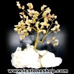 ต้นไม้มงคล หินไหมทอง ฐานควอตซ์ ใช้เสริมฮวงจุ้ย โต๊ะทำงาน (391g)