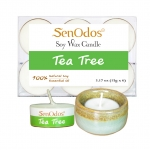 SenOdos เทียนหอม อโรม่า เทียนทีไลท์ Tealight Set Tea Tree Soy Candles เทียนหอมอโรม่า - กลิ่นทีทรีออยล์แท้ 15 g. (6 ชิ้น) + เชิงเทียน ที่วางเทียนทีไลท์ ศิลาดล (เซลาดล) สีเขียวหยกขอบทอง