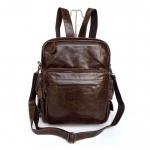 GT-2685 กระเป๋าหนังแท้ กระเป๋าเป้ หนังออยล์ สีน้ำตาลเข้ม