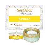 SenOdos เทียนหอม อโรม่า เทียนทีไลท์ Tealight Set Lemon Scented Soy Candles Aroma - กลิ่นเลมอนแท้ 15g. (6 PCS) + เชิงเทียน ที่วางเทียนทีไลท์ ศิลาดล (เซลาดล) สีเขียวหยกขอบทอง