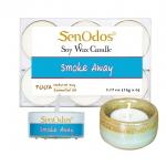 SenOdos เทียนหอม อโรม่า เทียนทีไลท์ Tealight Set Smoke Away Soy Candles 15g. (6 PCS) + เชิงเทียน ที่วางเทียนทีไลท์ ศิลาดล (เซลาดล) สีเขียวหยกขอบทอง