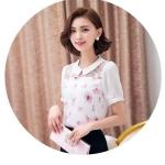 [พร้อมส่ง]เสื้อแฟชั่นสไตล์เกาหลี ผ้าลูกไม้ตัดต่อผ้าชีฟอง คอปกทรงตรงเว้าเอวนิดหน่อย ติดกระดุมคอด้านหลังค่ะรหัสMN42
