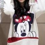 เสื้อกันหนาว สีขาว สกรีนรูปมิกกี้เม้าส์ มีฮู้ดๆมีหู (สกรีนหลัง Mickey Mouse)
