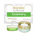 SenOdos เทียนหอมอโรม่า เทียนทีไลท์ Tealight Set Rosemary Soy Candles - กลิ่นโรสแมรี่แท้ 15 g. (6 ชิ้น) + เชิงเทียน ที่วางเทียนทีไลท์ ศิลาดล (เซลาดล) สีเขียวหยกขอบทอง