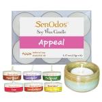 SenOdos Emotional Scented Soy Candles Aroma Appeal เทียนหอมอโรม่า (แพ็ค 6 ชิ้น) + เชิงเทียน ที่วางเทียนทีไลท์ ศิลาดล (เซลาดล) สีเขียวหยกขอบทอง