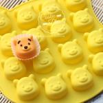 แม่พิมพ์ซิลิโคนทำขนม ลายหมีพูห์ 16 ช่อง