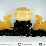 ▽[โปรโมชั่น]ปี่เซียะคู่เหรียญทองพร้อมฐานไม้แกะจากแคลไซต์สีทอง (1.9Kg)