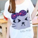 เสื้อยืดแฟชั่น สีขาว คอกลม แขนสั้น ตัวยาวคลุมสะโพก สกีนหน้าแมว