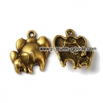 ตัวห้อยช้างแม่ลูก สีทองเหลืองโบราณ