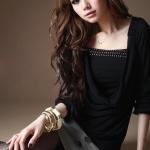 เสื้อทำงาน สีดำ คอถ่วง จั๊มเอว เสื้อด้านใน แต่งน่ารัก