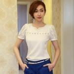 [พร้อมส่ง] เสื้อผ้าชีฟองสีขาว ประดับมุกรอบคอ แขนทั้งสองข้างประดับด้วยผ้าโปร่งลูกไม้ ตัดเย้บเรียบร้อยสวยเหมือนแบบค่ะรหัสA34