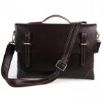 GT-7228 กระเป๋าหนังแท้ กระเป๋าสะพายข้าง หนังฟอกฝาด สีน้ำตาลดำ