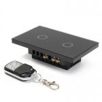 Touch switch สวิทช์ไฟสัมผัส รองรับรีโมทคอนโทรล สีดำ 2 ปุ่ม