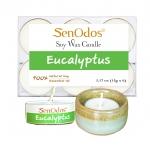 SenOdos เทียนหอม เทียนทีไลท์ อโรม่า Tealight Set Eucalyptus Scented Soy Candles Aroma - กลิ่นยูคาลิปตัสแท้ 15g. (6 PCS) + เชิงเทียน ที่วางเทียนทีไลท์ ศิลาดล (เซลาดล) สีเขียวหยกขอบทอง