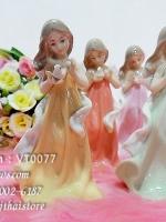 ตุ๊กตาแต่งบ้าน ชุดหญิงสาวถือนก 4 สี