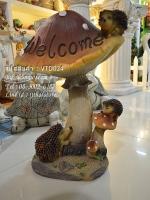 ตุ๊กตาแต่งสวน เม่นแคระกับเห็ด Welcome