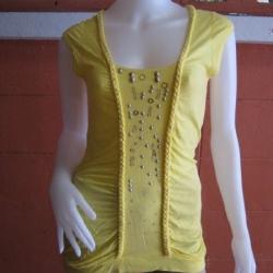 BN1155--เสื้อแฟชั่นตัวยาว สีเหลือง CPS อก 32-33 นิ้ว