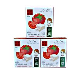 M. Chue Tofu Gluta Soap Tomato Extract สบู่ผิวขาว กระชับ ลดริ้วรอย ปรับผิวขาวขึ้นถึง 6 ระดับ เห็นผลได้ใน 7วัน (มะเขือเทศ+เต้าหู้+คิวเทน+กลูต้าไธโอน+อาบูติน) 3 ก้อน