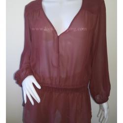 BN2593--เสื้อแฟชั่น ชีฟอง สีน้ำตาลแดง BANANA REPUBLIC อก 44-46 นิ้ว