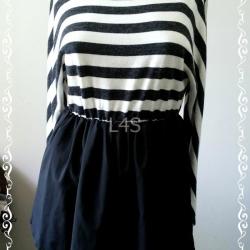 jp4086-เสื้อผ้าแฟชั่น สีดำลายทางขาว มือสอง อก free-35 นิ้ว