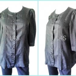 jp3886-เสื้อแฟชั่น สีดำ อก 38 นิ้ว