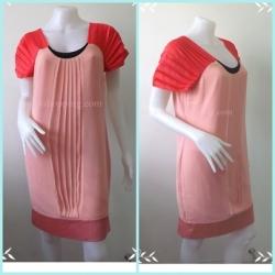 Dress0506-เดรสแฟชั่น นำเข้า สีโอรสCIAO DAFANFAN อก 34-36 นิ้ว