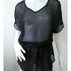 BN3032--เสื้อผ้ามือสอง ชีฟอง สีดำ expree อก free-42 นิ้ว