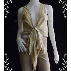 """jp1374-เสื้อแฟชั่น silkนำเข้า สีน้ำตาลลายจุด NEWPORT NEW """"อก 34 นิ้ว"""""""