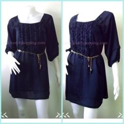 Dress0540-เดรสแฟชั่น ชีฟอง สีน้ำเงินเข้ม อก 32-34 นิ้ว