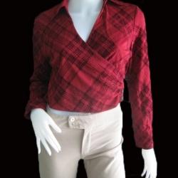 BN1600--เสื้อแฟชั่น แบบโชว์เอว สีแดงเข้ม JASPAL อก 33 นิ้ว