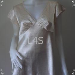 jp3911-เสื้อแฟชั่น สีครีมลายจุด อก 40 นิ้ว