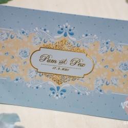 การ์ดงานแต่งงาน ขนาด 4*6 นิ้ว 2 พับพร้อมซองพิมพ์สีทองด้าน