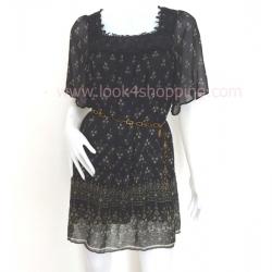 """Dress0001--เดรสแฟชั่น ชีฟอง สีดำ PQ """"อก 34 นิ้ว"""""""