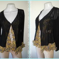 jp4240-เสื้อคลุม แฟชั่น ชีฟอง สีดำ MOSAIOUE อก 34 นิ้ว