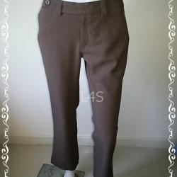 TR0038-กางเกงผ้า สีน้ำตาล เอว 30 นิ้ว
