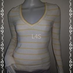BN3943--เสื้อแฟชั่นไหมพรม สีขาวลายทางเหลือง ANN TAYLOR อก 30-34 นิ้ว